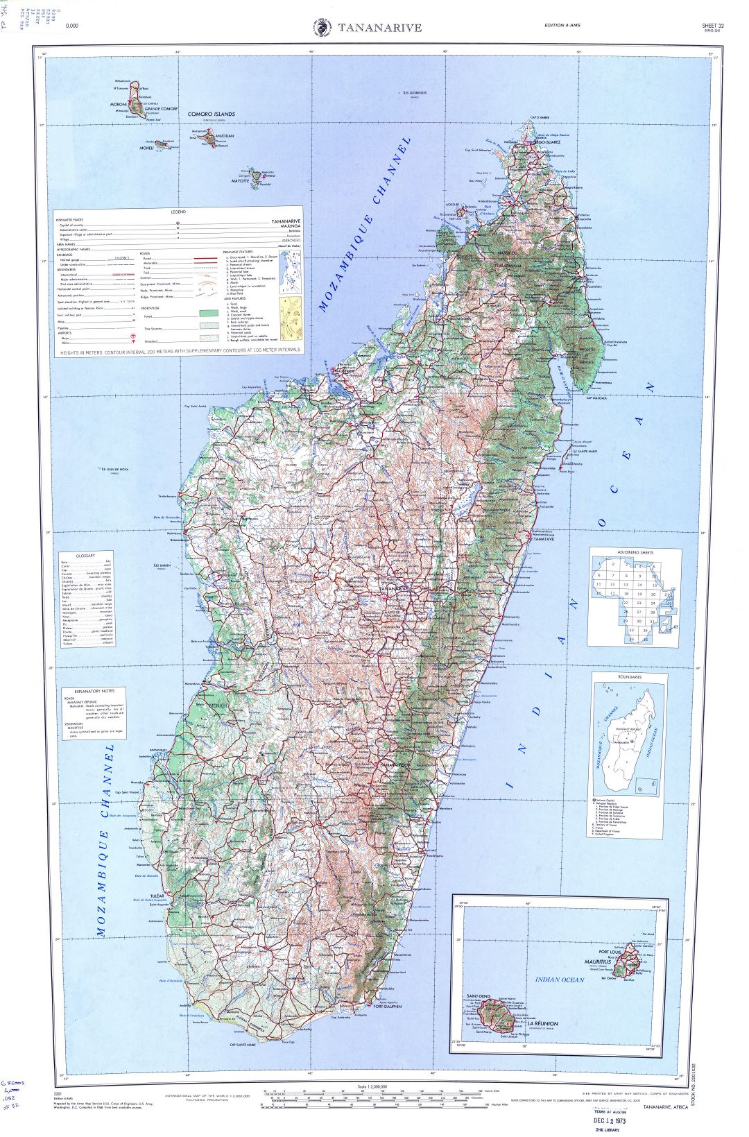 Large detailed topographic map of Madagascar