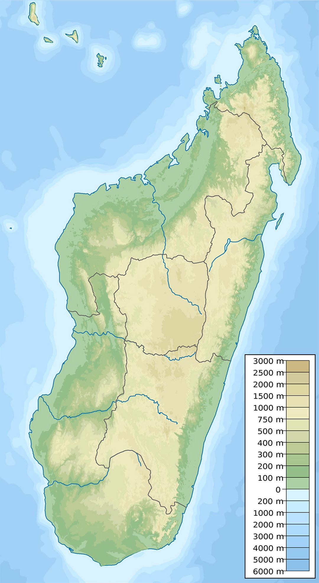Large physical map of Madagascar