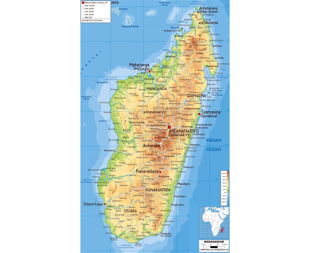 Large physical map of Madagascar with roads, cities and airports