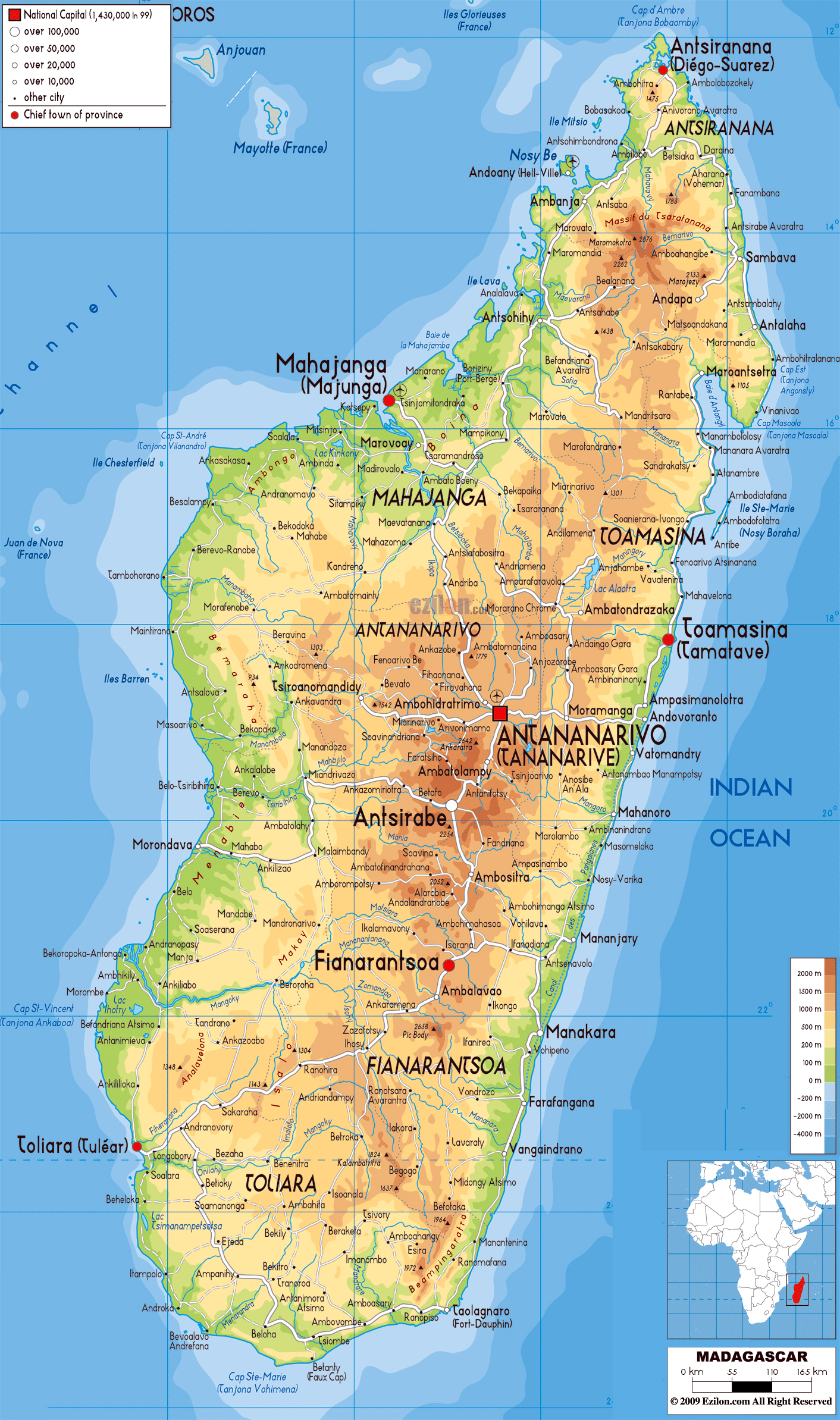 Map Of Africa Madagascar.Large Physical Map Of Madagascar With Roads Cities And Airports
