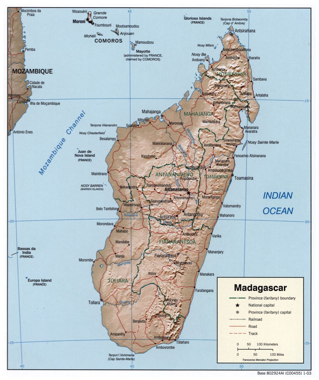 Large political and administrative map of Madagascar with relief, roads, railroads and cities - 2003