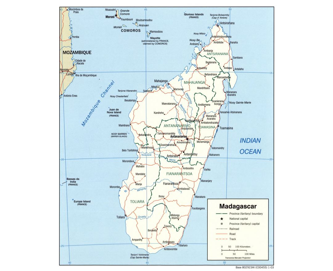 Large political and administrative map of Madagascar with roads, railroads and cities - 2003