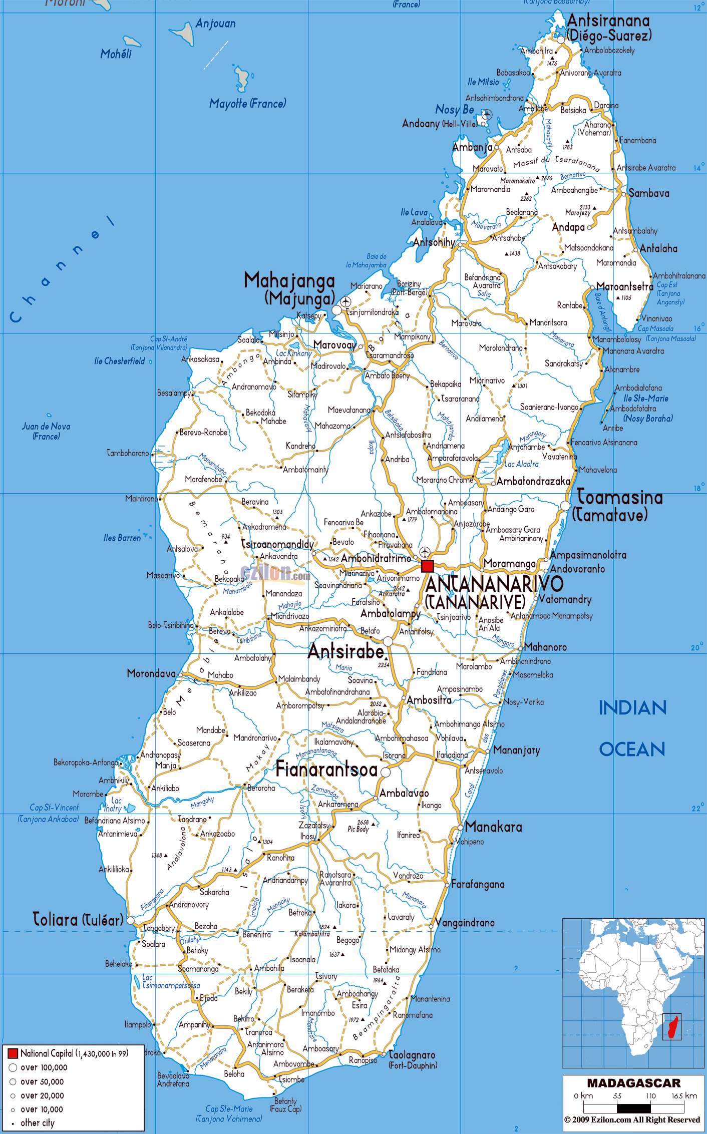 Large road map of Madagascar with cities and airports Madagascar