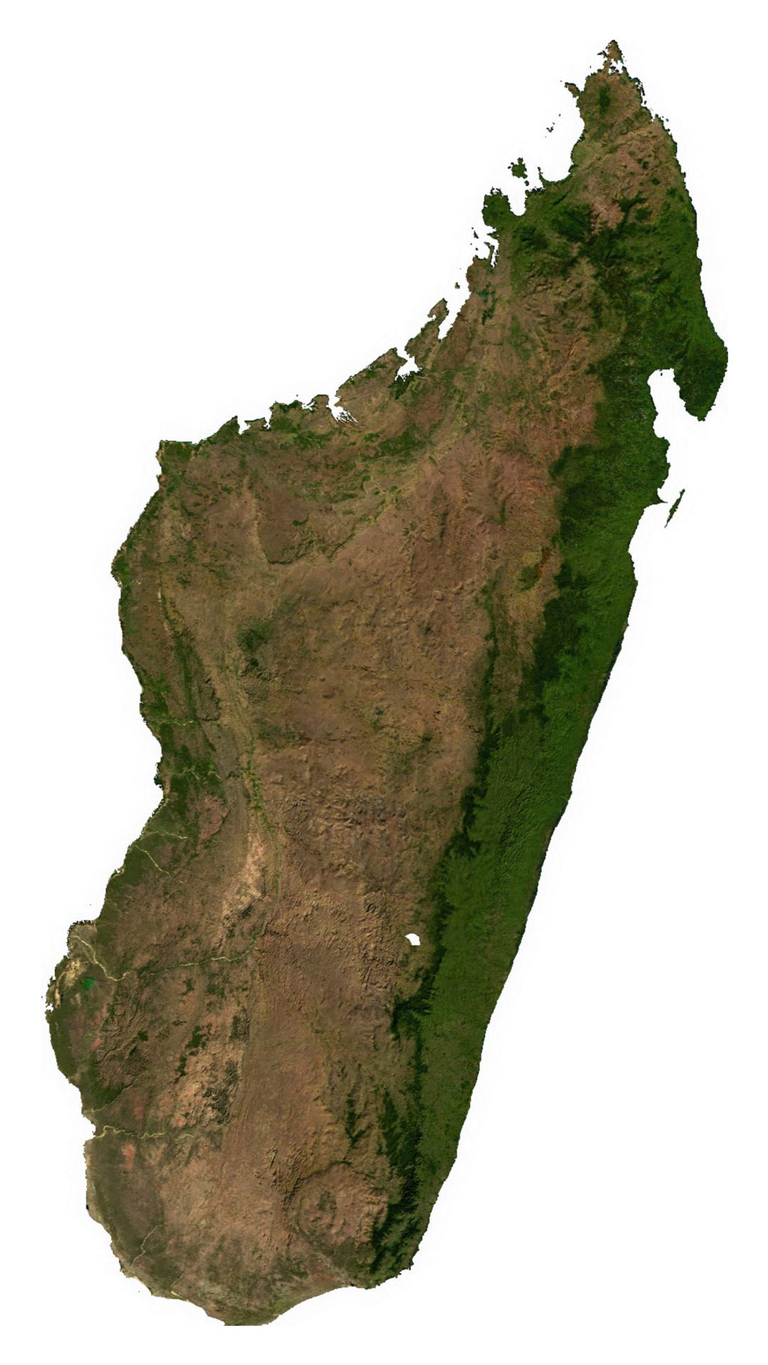 Large satellite map of Madagascar