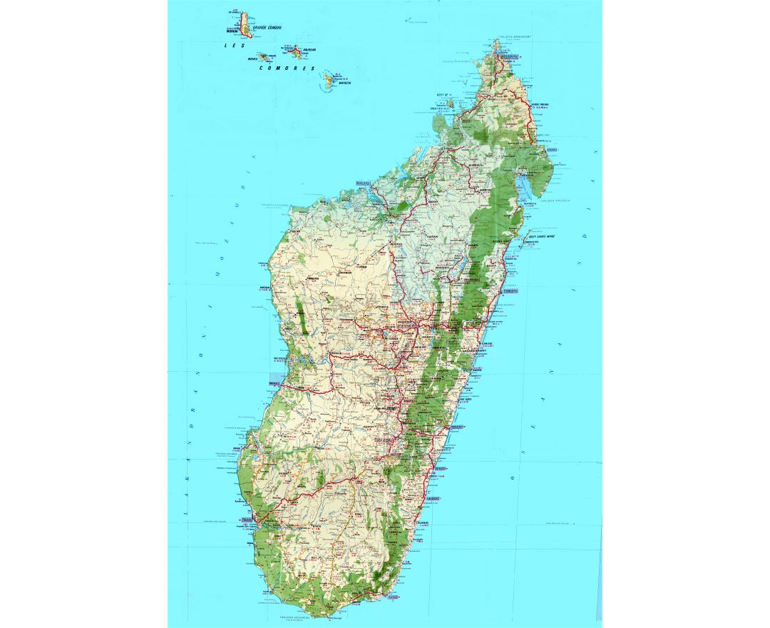 Maps of madagascar detailed map of madagascar in english tourist large scale detailed topographic and tourist map of madagascar with all roads cities villages gumiabroncs Images