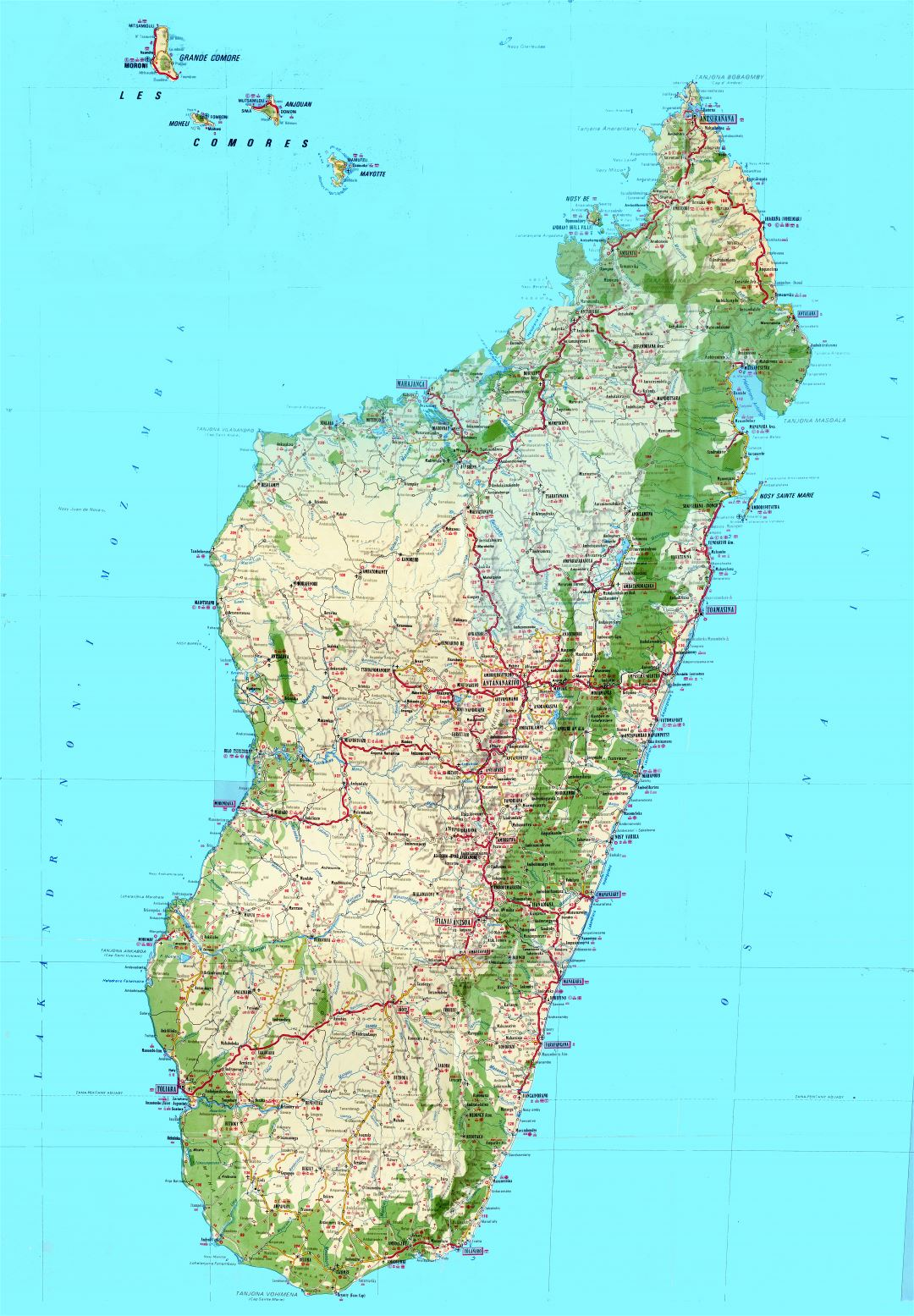 Large scale detailed topographic and tourist map of Madagascar with all roads, cities, villages, airports and other marks