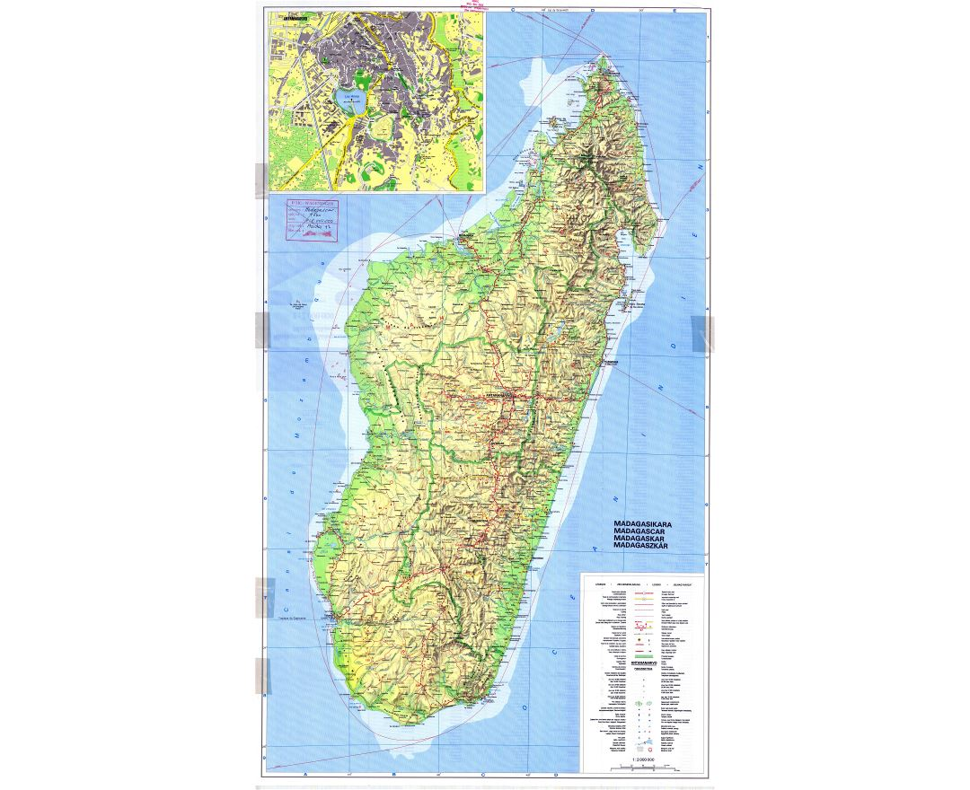 Large scale topographic map of Madagascar with all roads, cities, sea ports, airports and other marks