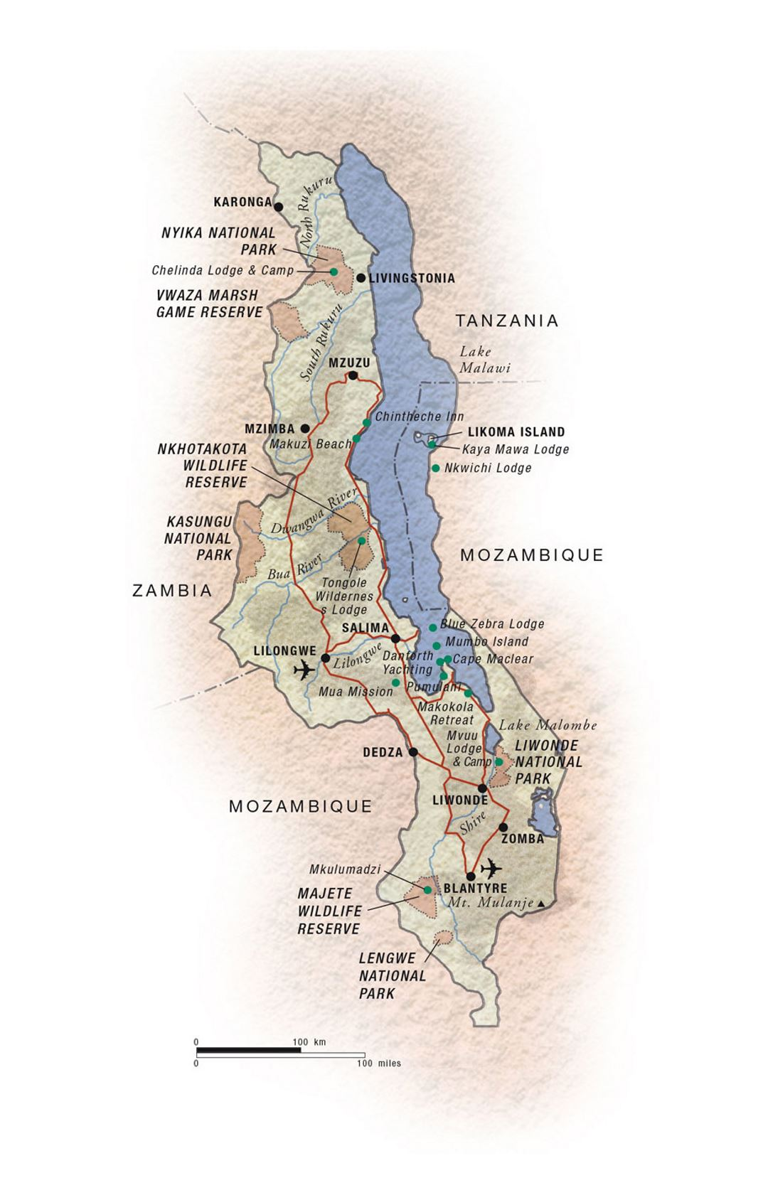 Detailed national parks map of Malawi