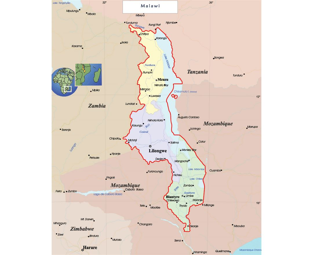 Malawi On Africa Map.Maps Of Malawi Collection Of Maps Of Malawi Africa Mapsland