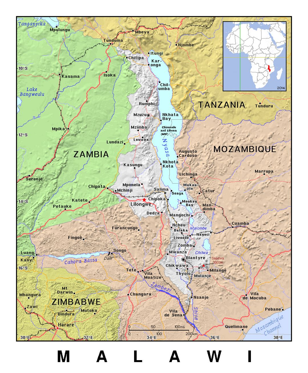 Detailed political map of Malawi with relief
