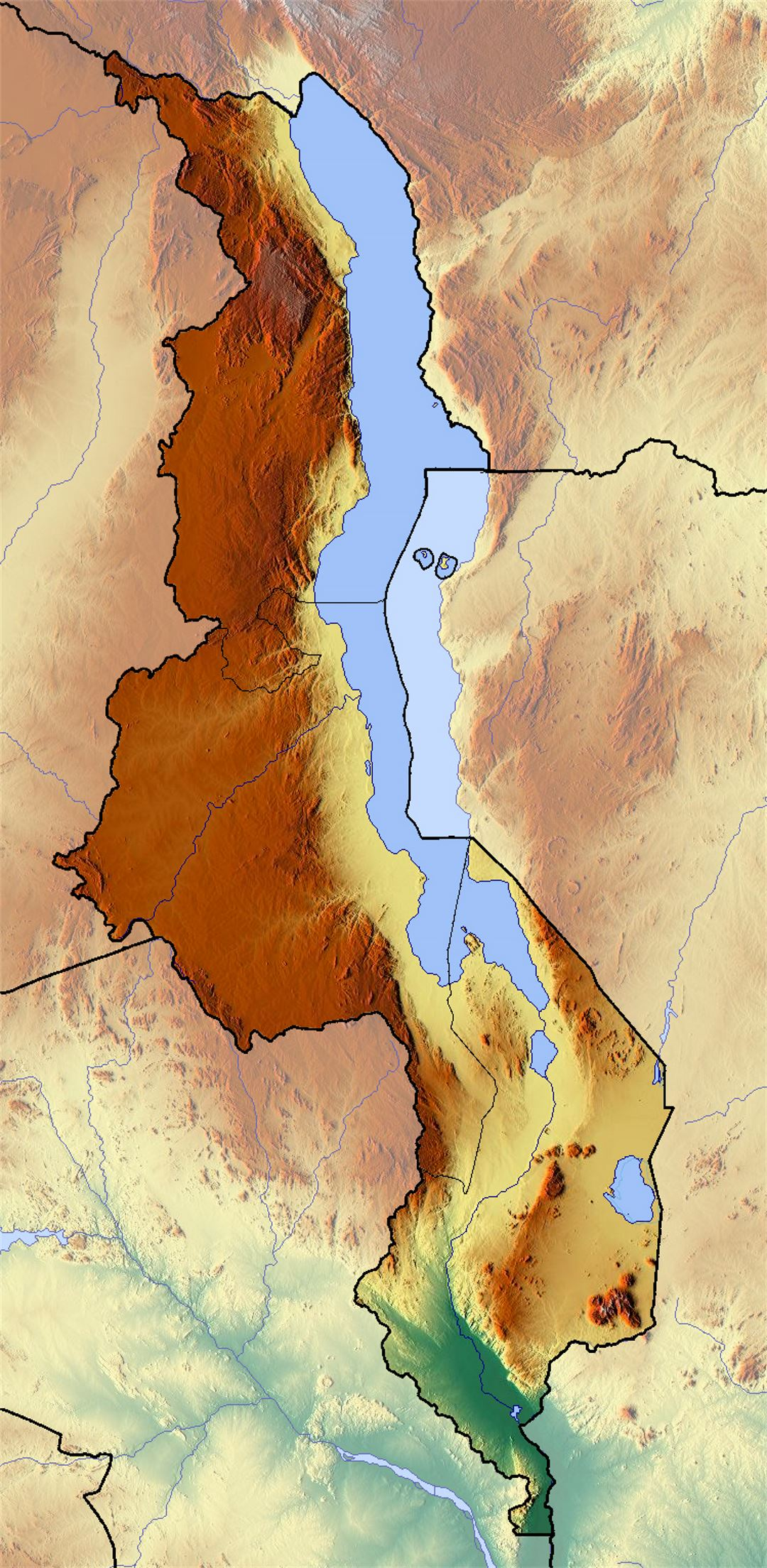 Detailed relief map of Malawi