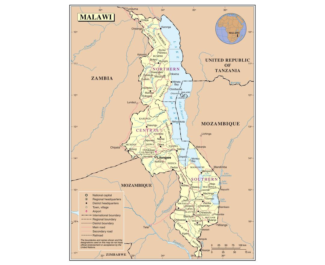 Maps of Malawi Detailed map of Malawi in English Tourist map