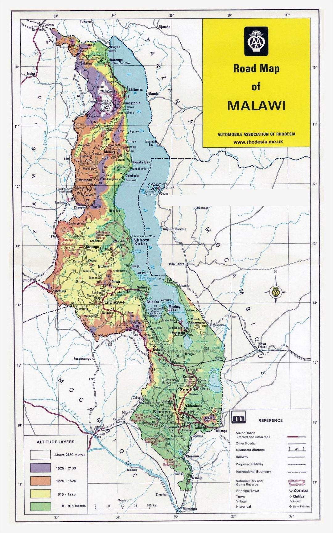 Large detailed road map of Malawi with other marks