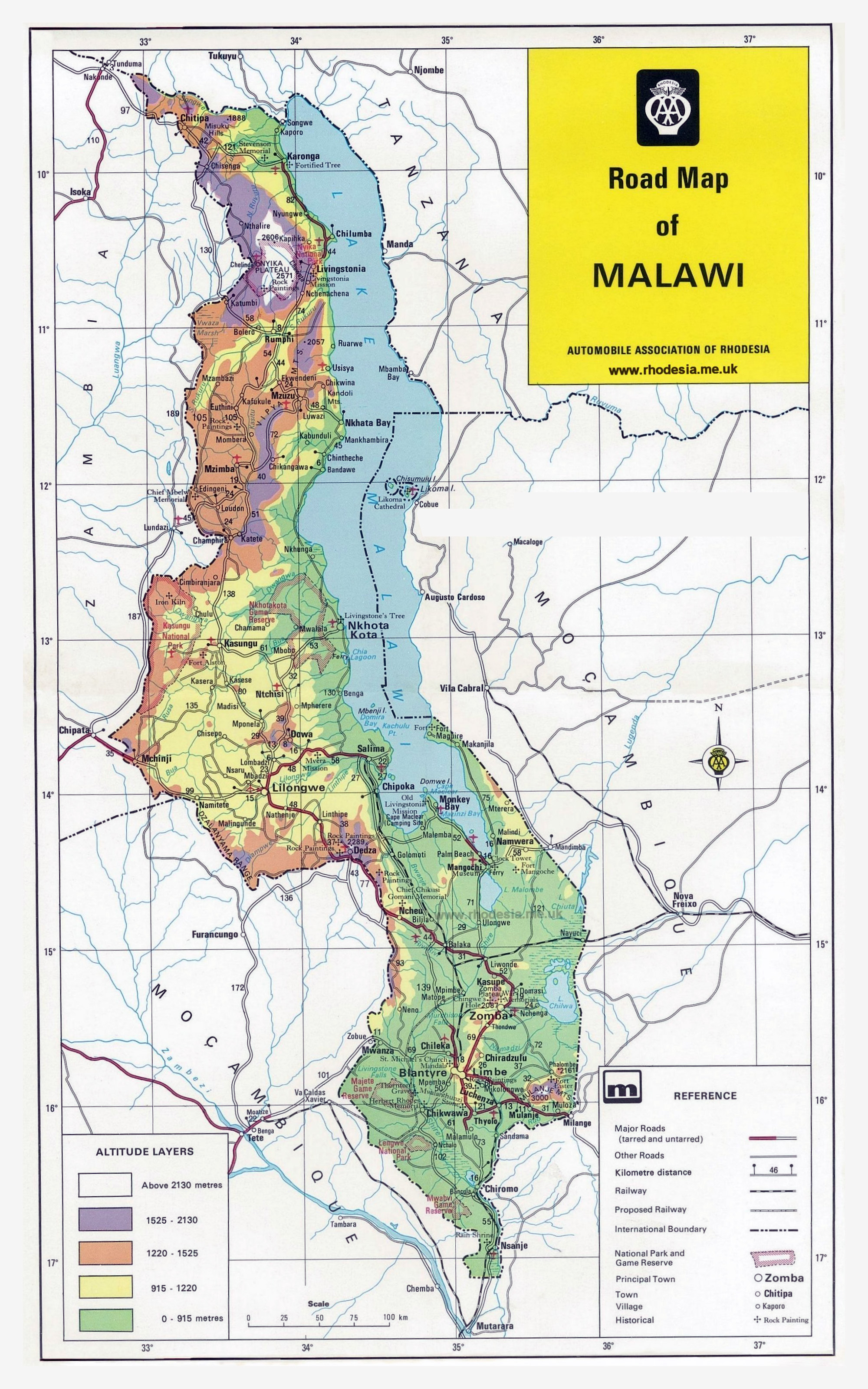 Large Detailed Road Map Of Malawi With Other Marks Malawi - Africa altitude map