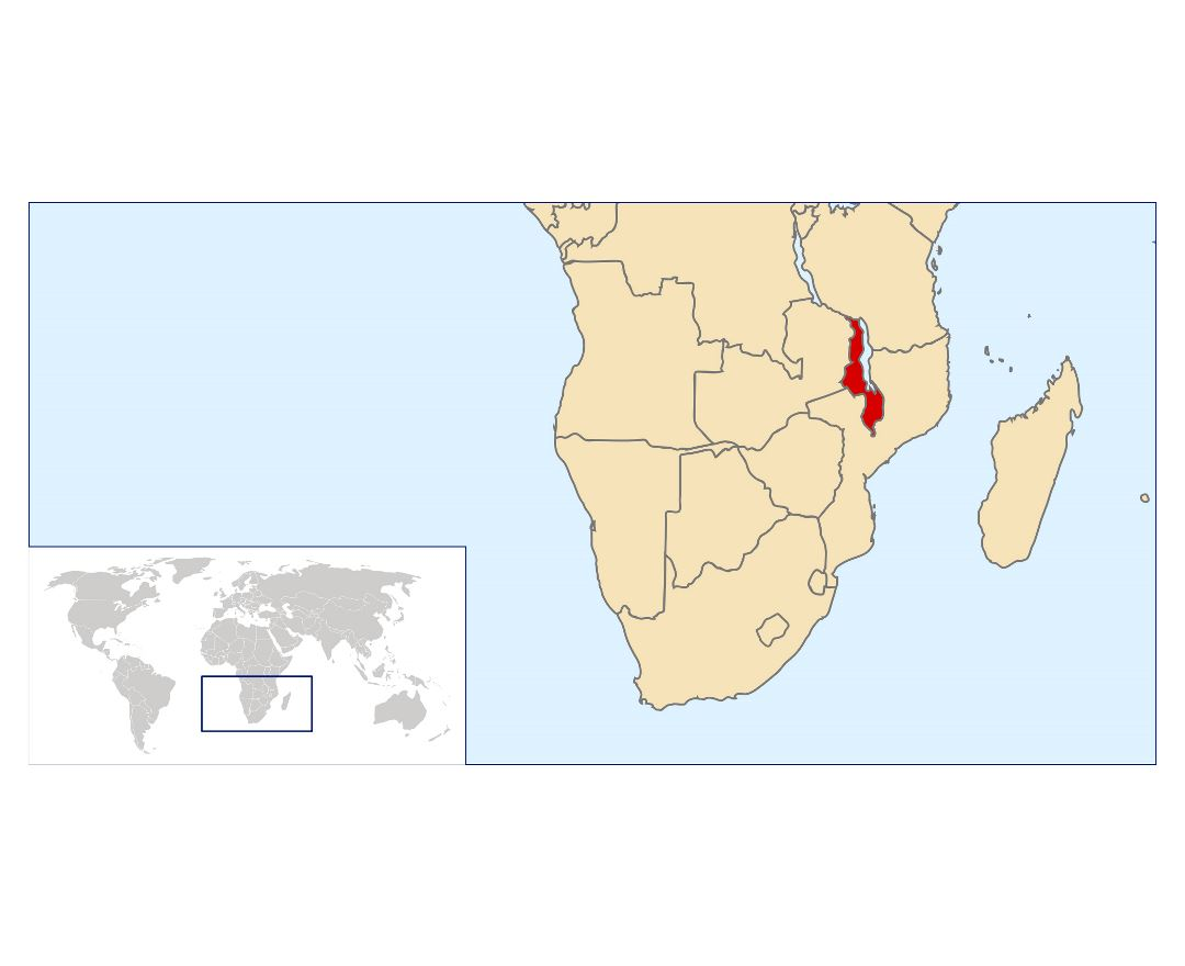 Large location map of Malawi Maps of