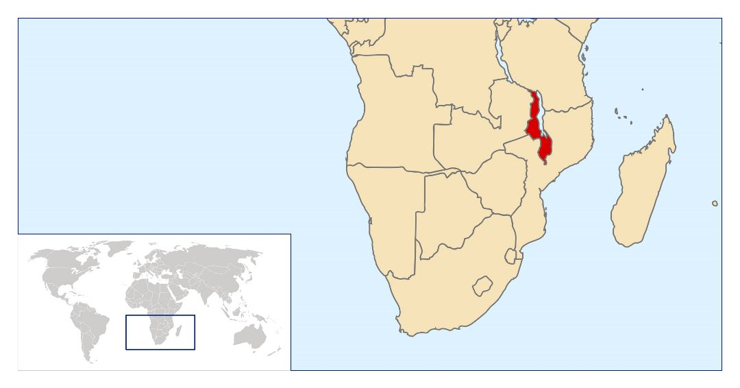 Large location map of Malawi