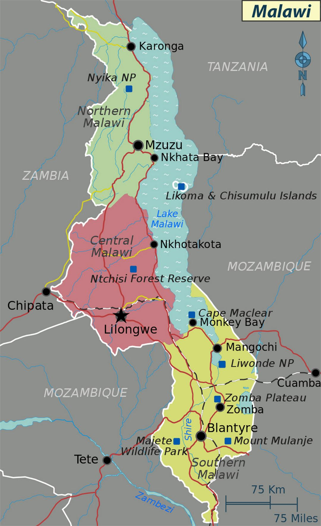 Large regions map of Malawi