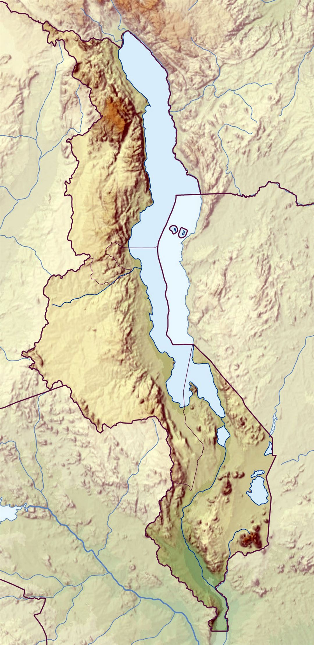 Large relief map of Malawi