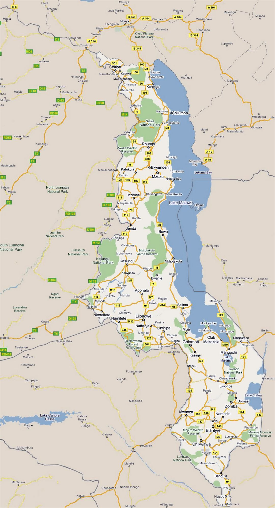 Large road map of Malawi with all cities