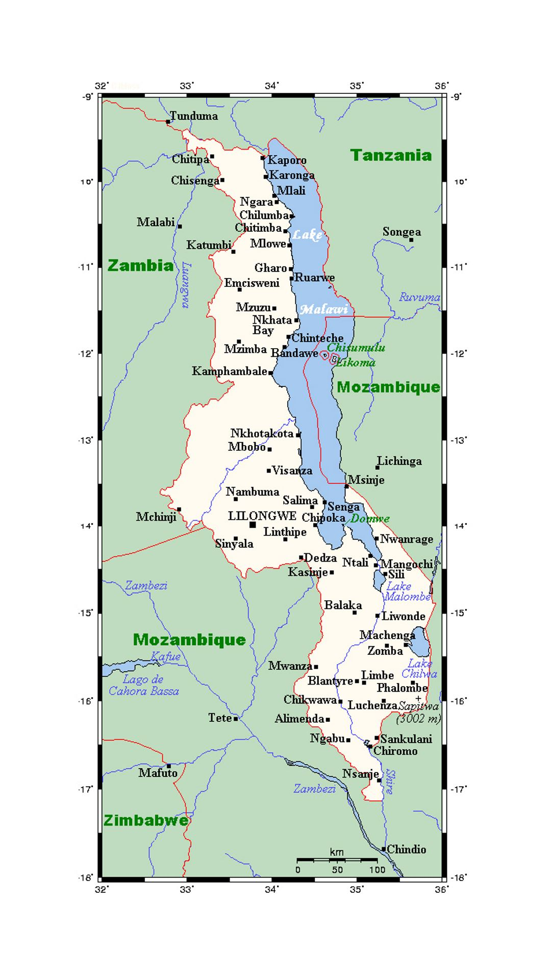 Map Of Malawi With Cities Malawi Africa Mapsland Maps Of - Malawi map