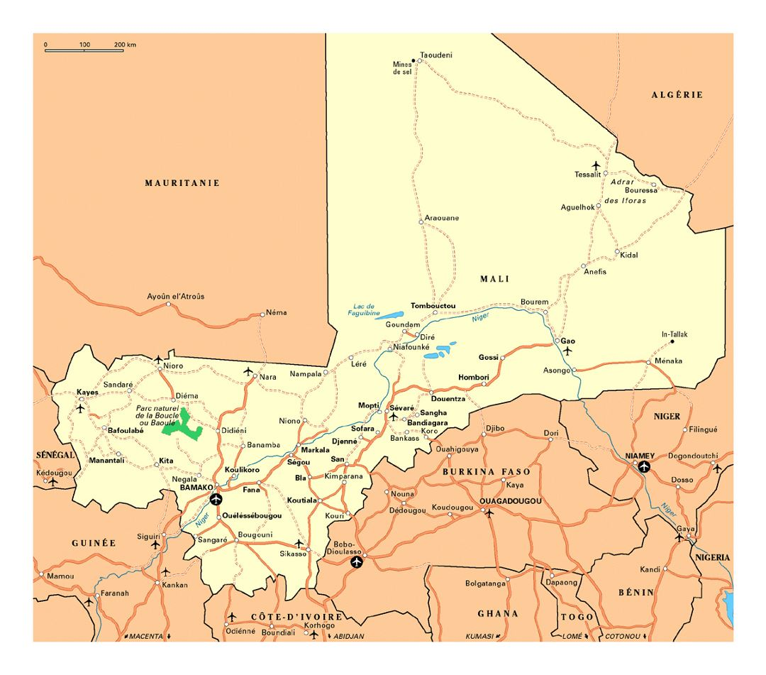 Detailed map of Mali with roads, cities, national parks and airports