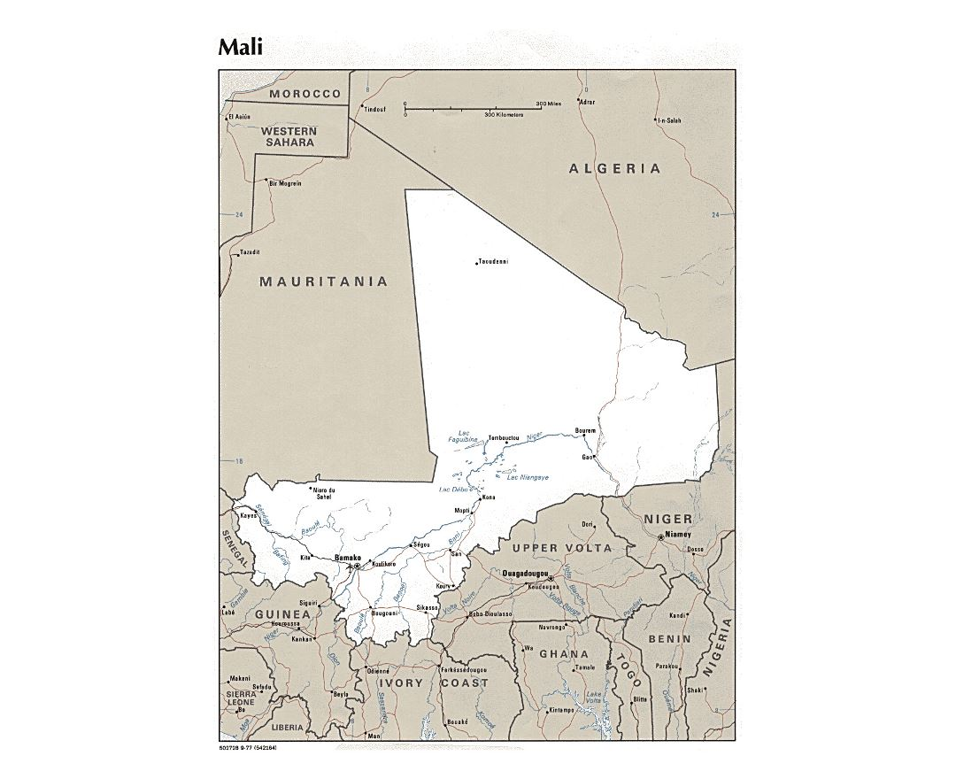 Detailed political map of Mali with major cities and airports - 1977