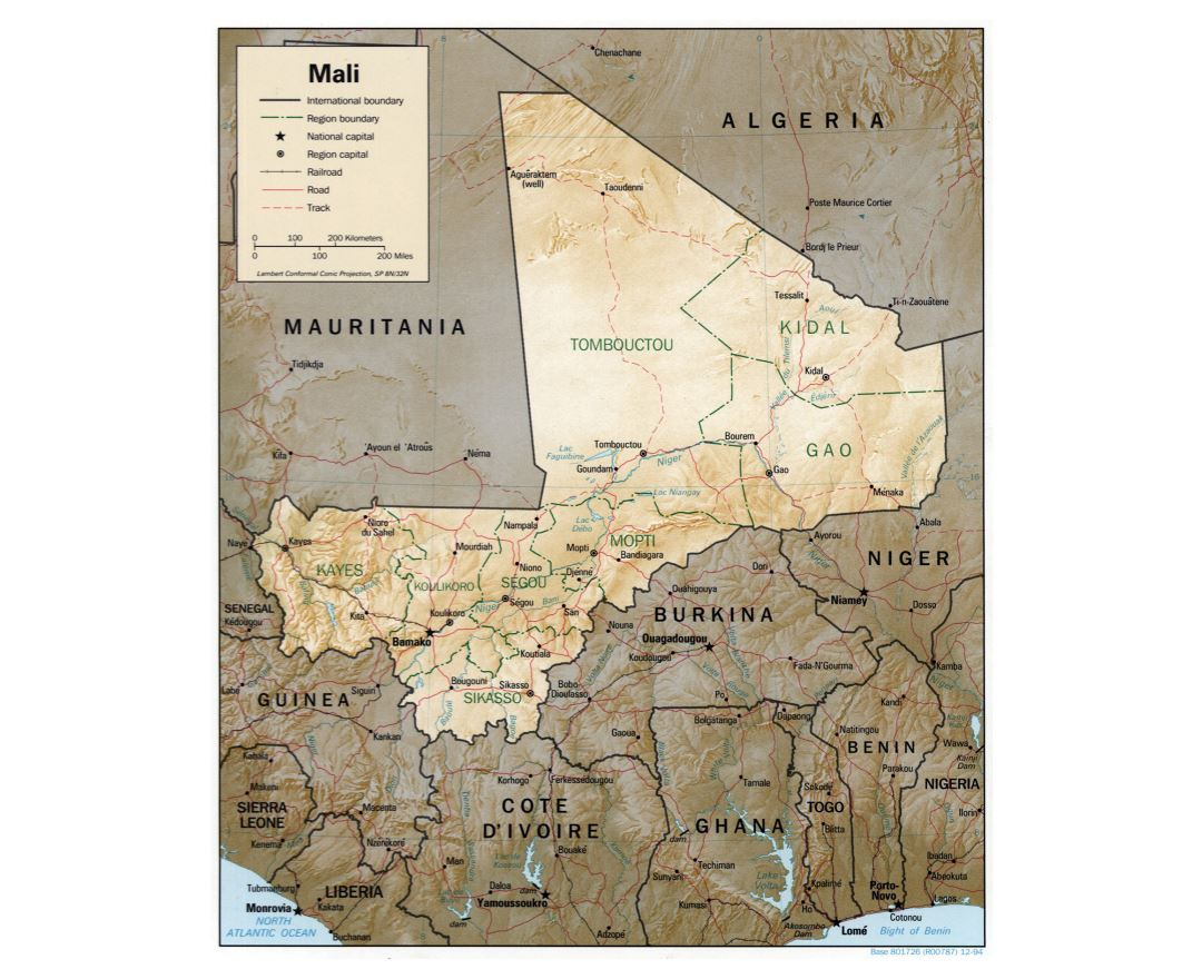Large detailed political and administrative map of Mali with relief, roads, railroads and major cities - 1994