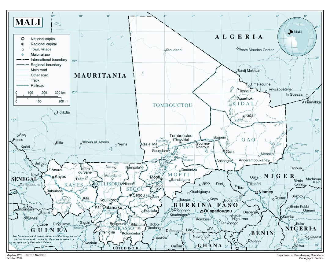 Large detailed political and administrative map of Mali with roads, railroads, all cities and airports