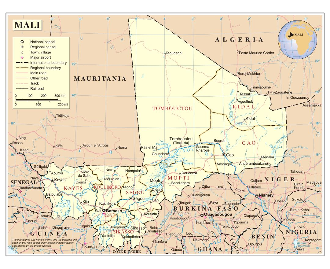Large detailed political and administrative map of Mali with roads, railroads, cities and airports