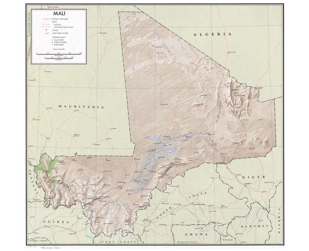 Large detailed political map of Mali with relief, roads, railroads, cities and airports - 1970