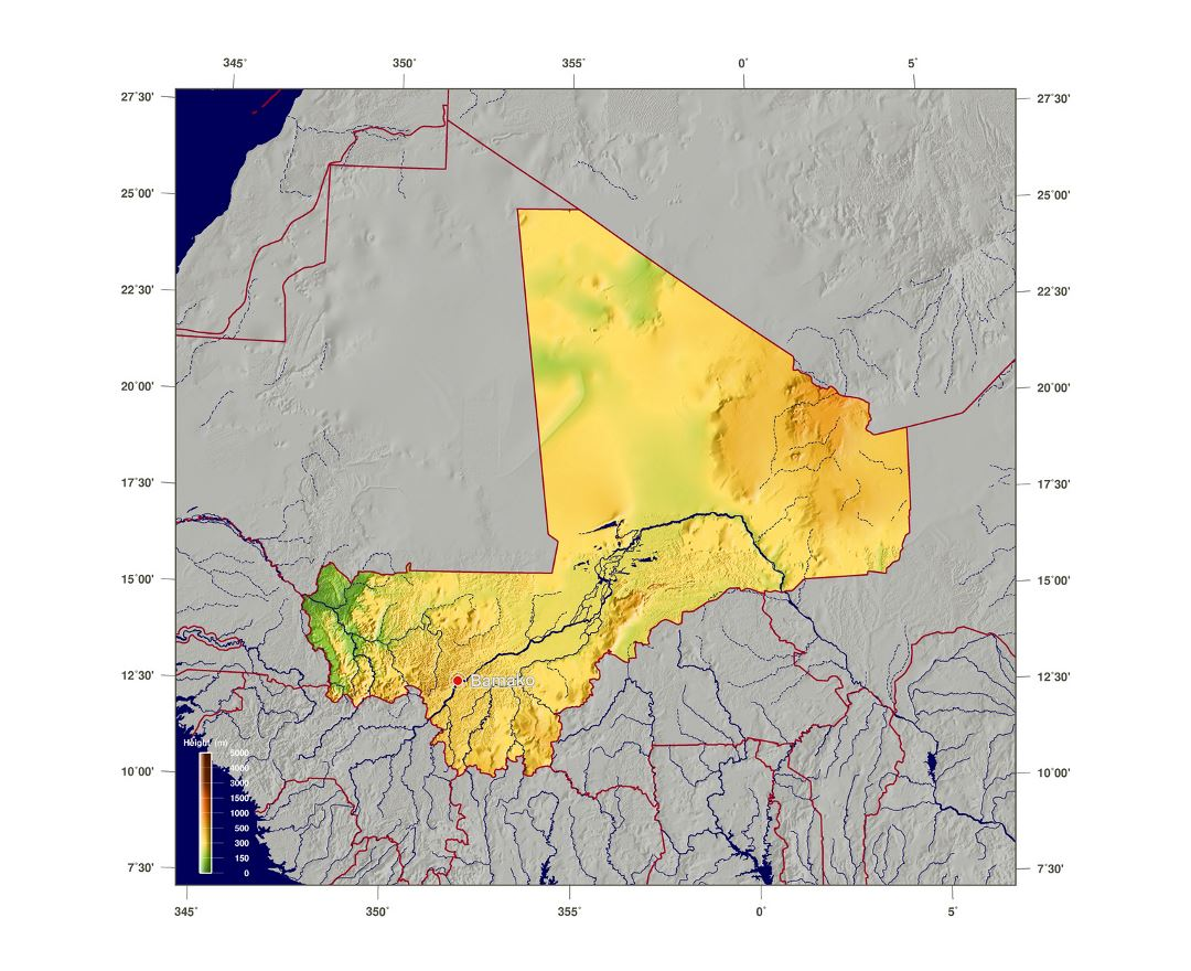 Large elevation map of Mali