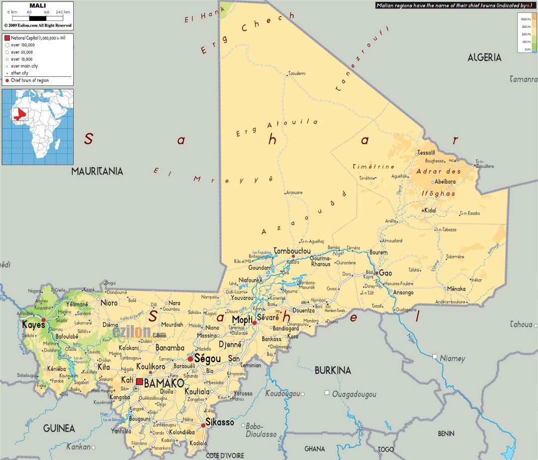 Large physical map of Mali with roads, cities and airports