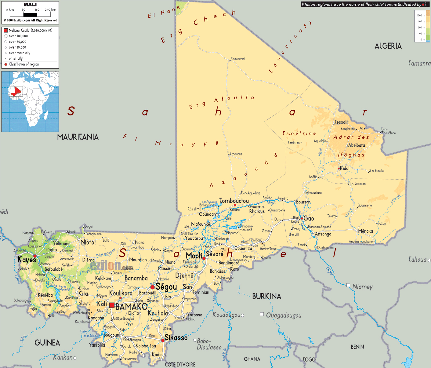 Large physical map of Mali with roads, cities and airports | Mali ...