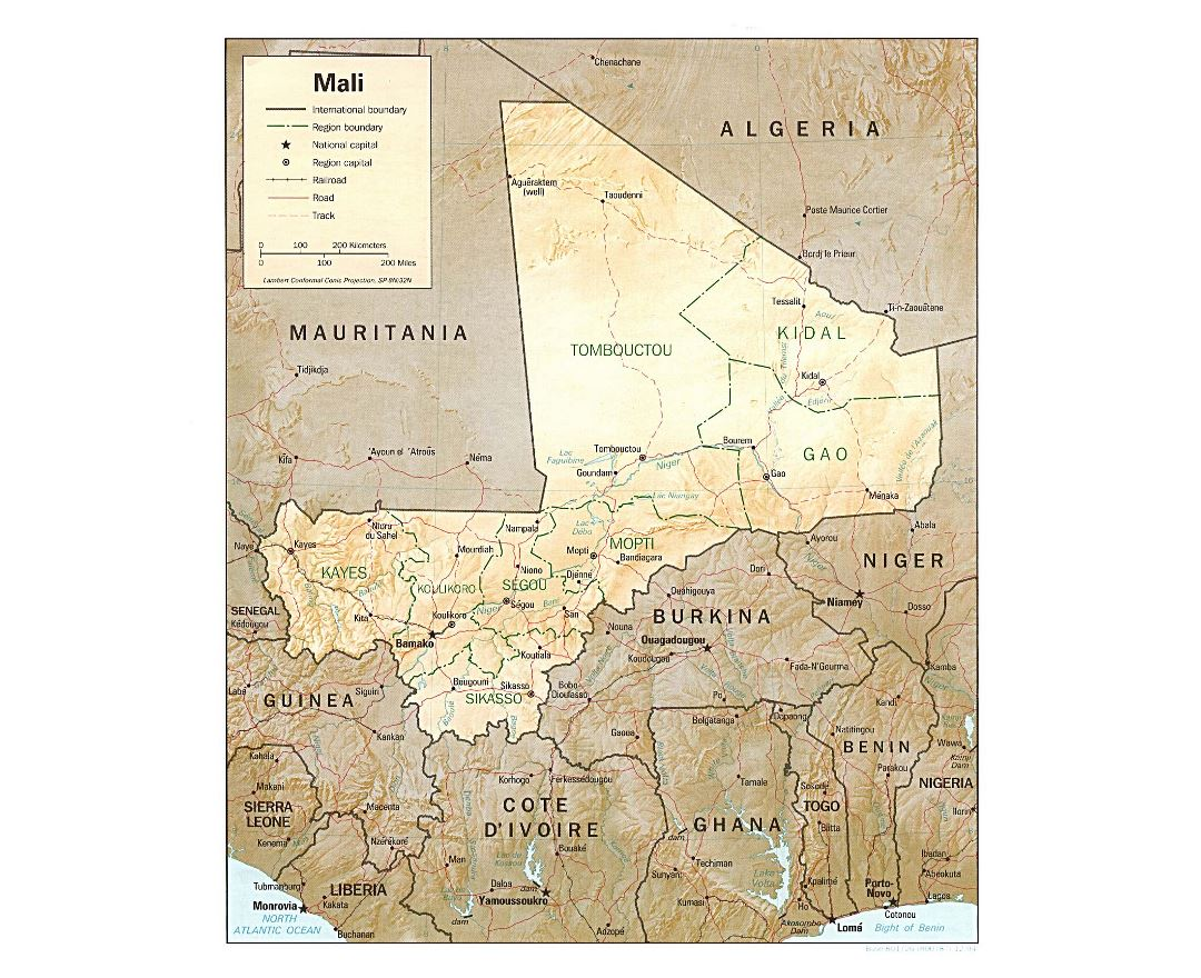 Large political and administrative map of Mali with relief, roads, railroads and major cities - 1994