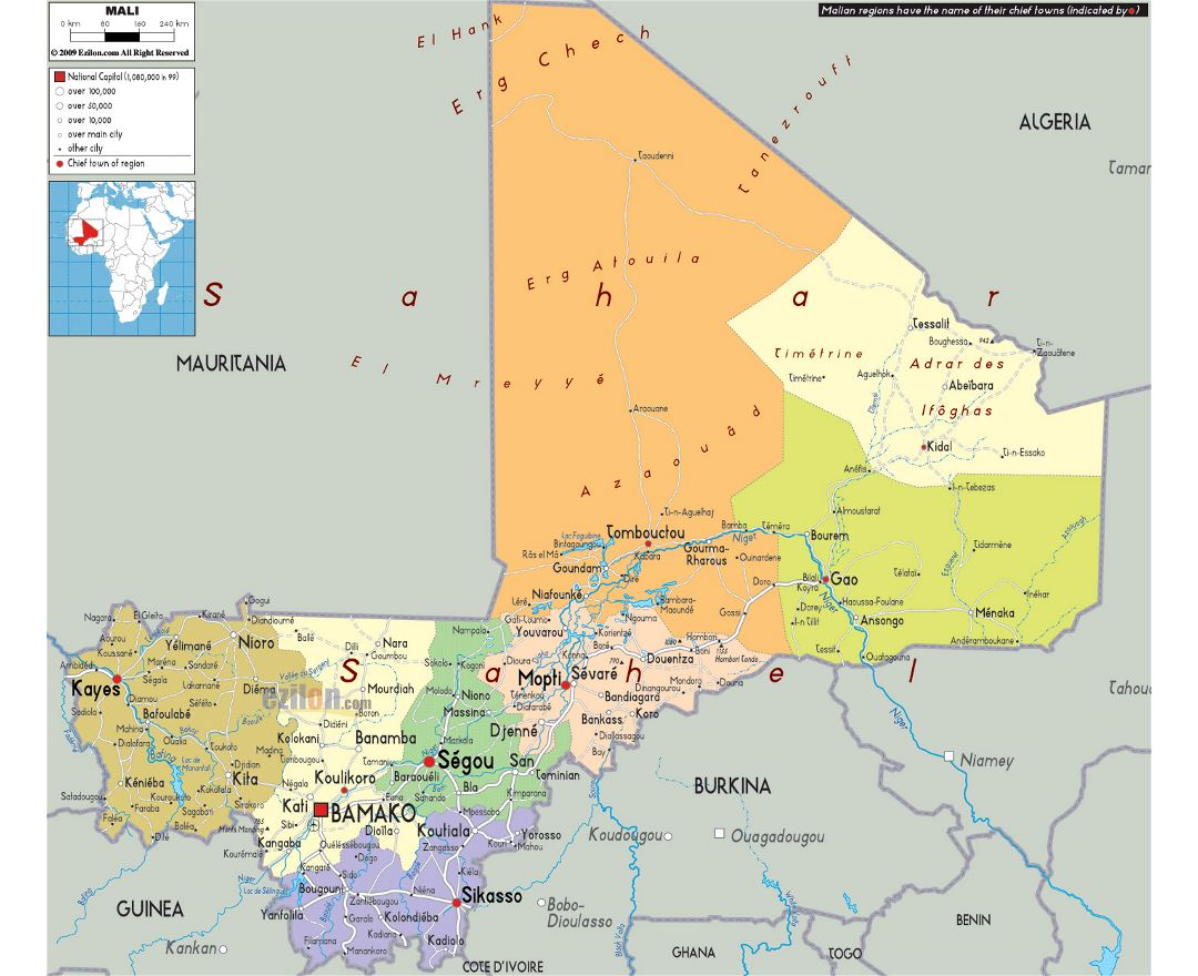 Large political and administrative map of Mali with roads, cities and airports