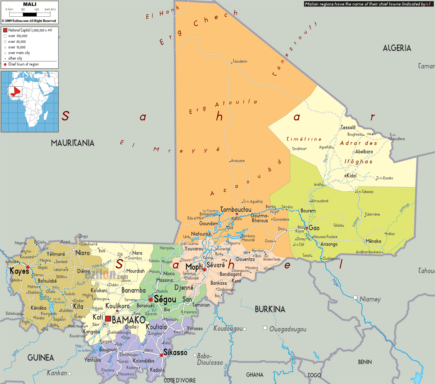 Large political and administrative map of Mali with roads, cities