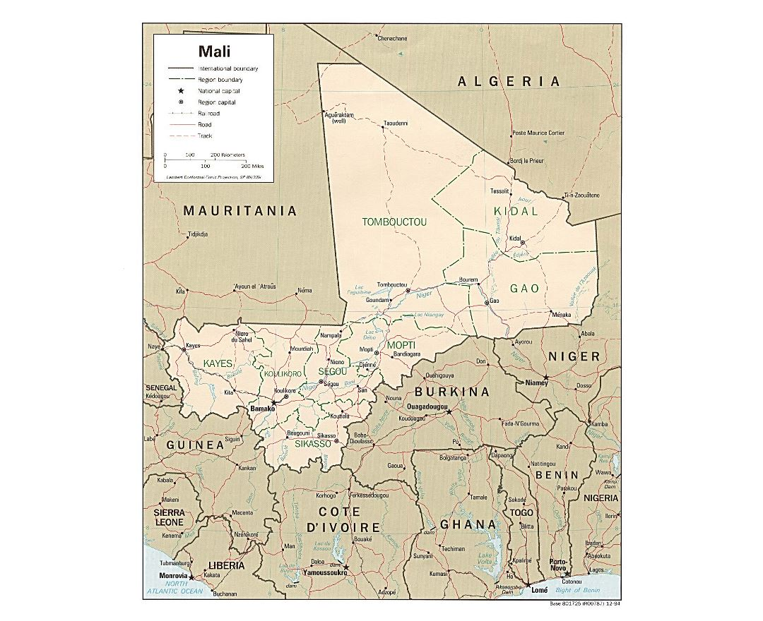 Large political and administrative map of Mali with roads, railroads and major cities - 1994