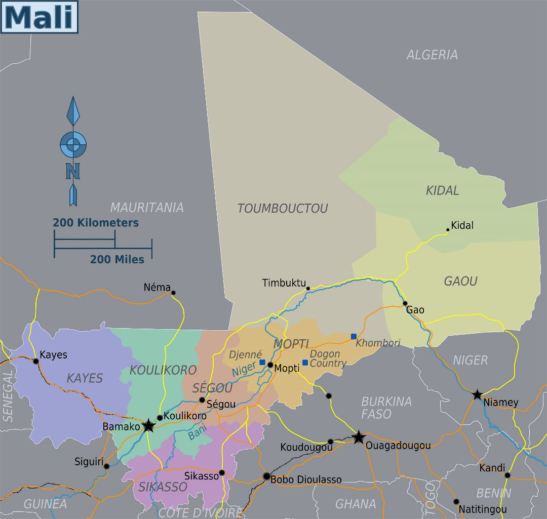 Large regions map of Mali