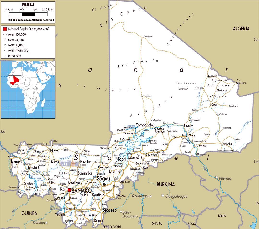 Large road map of Mali with cities and airports