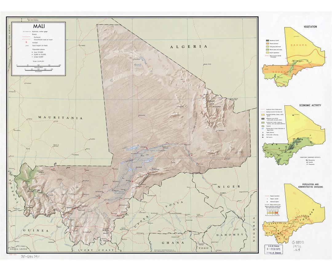 Large scale detailed political map of Mali with relief, roads, railroads, cities and airports - 1970