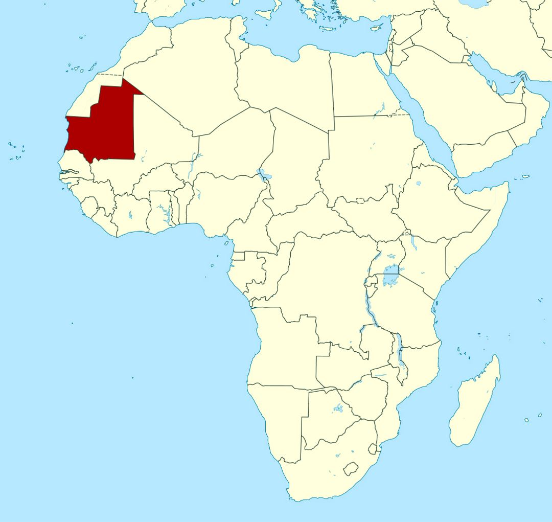 Detailed location map of Mauritania in Africa