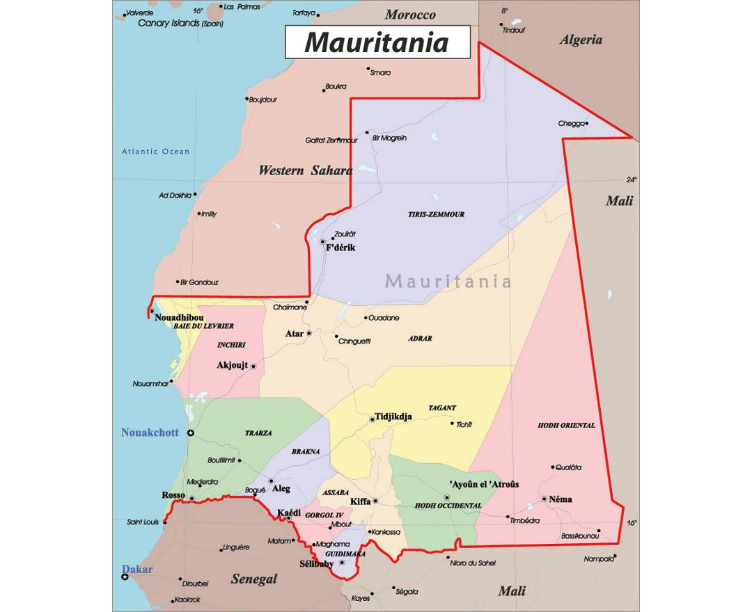 Maps of Mauritania  Detailed map of Mauritania in English