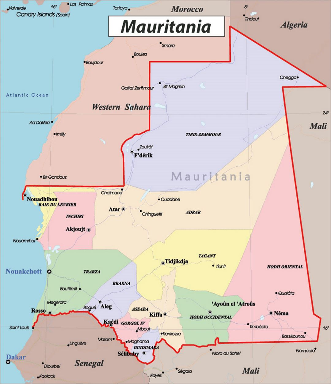 Detailed political and administrative map of Mauritania with roads and major cities