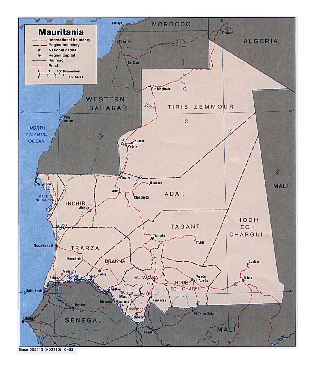 Detailed political and administrative map of Mauritania with roads, railroads and major cities - 1982
