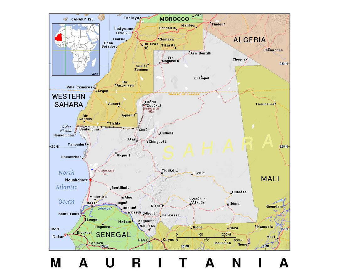 Maps Of Mauritania Detailed Map Of Mauritania In English - Political map of algeria