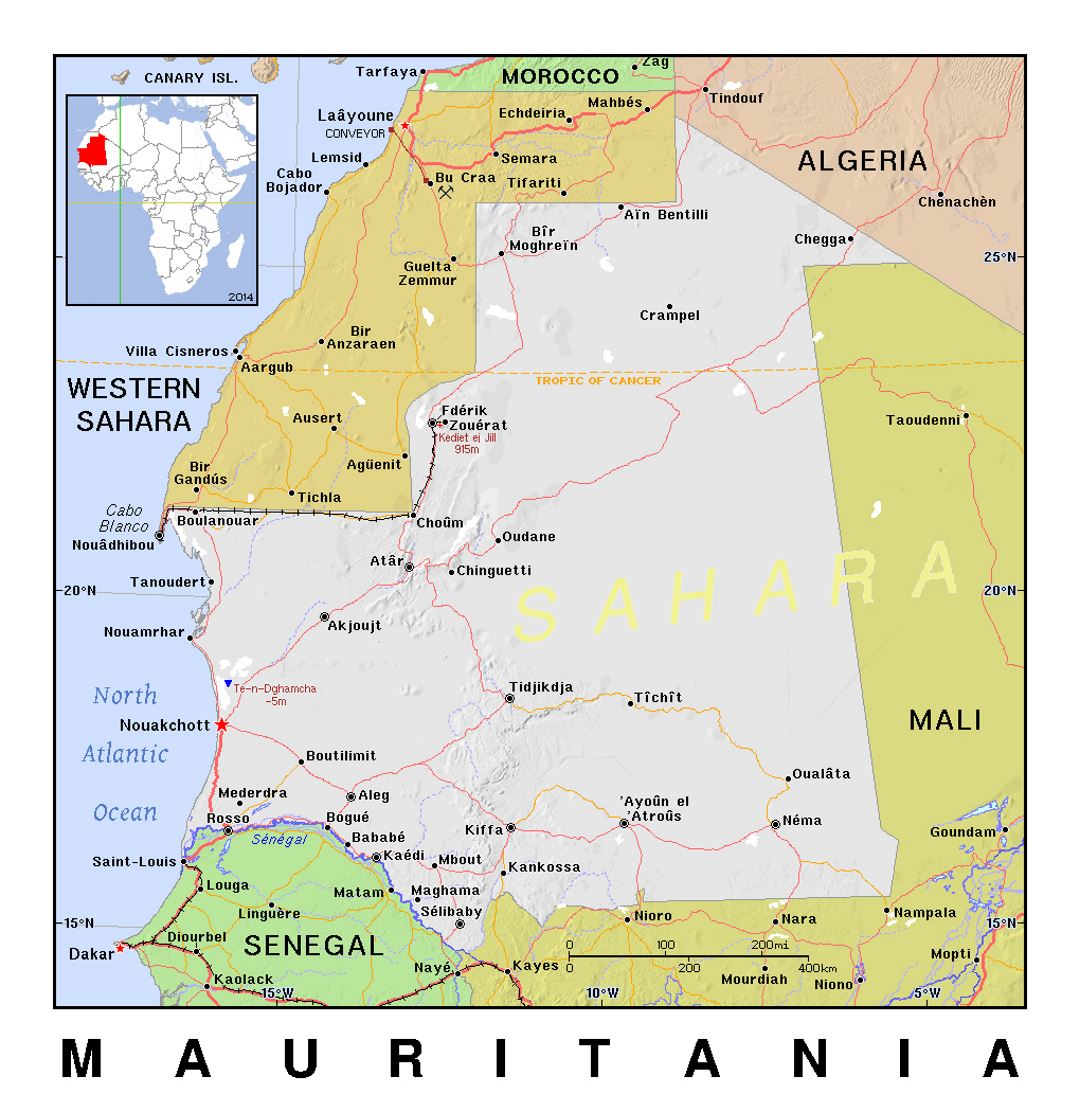 Detailed political map of Mauritania with relief