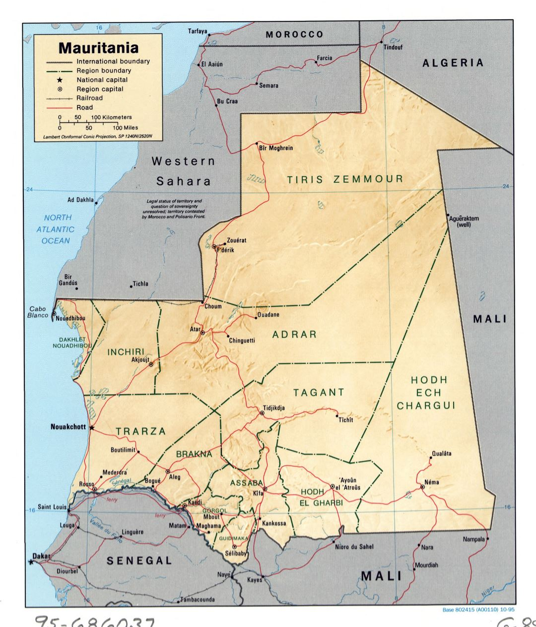 Large detailed political and administrative map of Mauritania with relief, roads, railroads and major cities - 1995