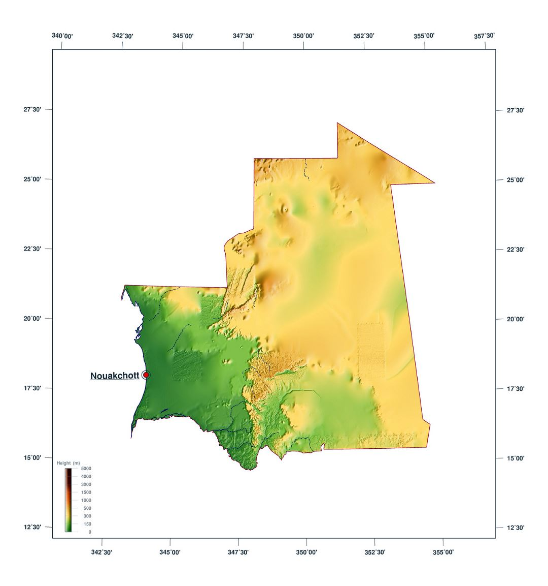 Large elevation map of Mauritania