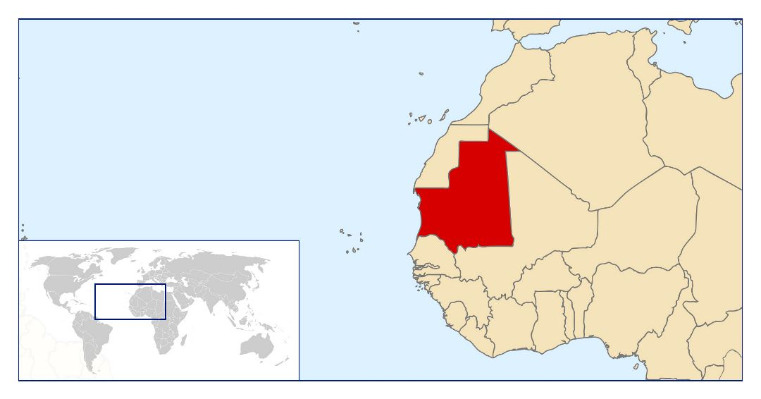 Large location map of Mauritania in the World