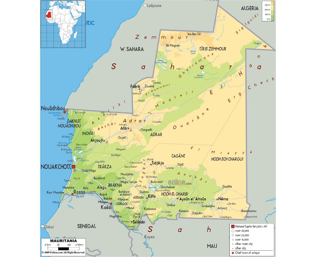 Maps Of Mauritania Detailed Map Of Mauritania In English - Algeria physical map